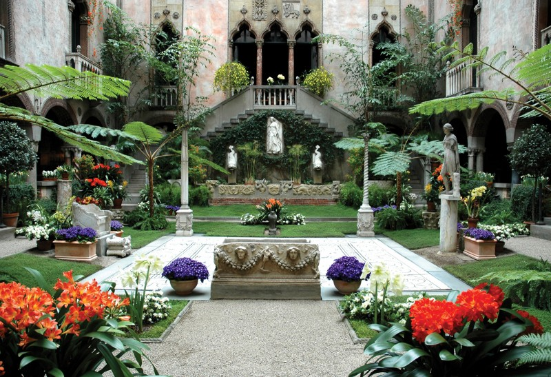 The Courtyard of Boston's Isabella Stewart Gardner Museum is the heart and soul of the museum, showing off everything Isabella loved most and conveying her aesthetic in a harmonious, light-filled space. It is at the center of the museum, visible from nearly every gallery space, and features an ancient Roman sculpture garden, a medieval European cloister, and a Renaissance Venetian canal-scape along with a stunning garden filled with flowers that change to reflect the season.
