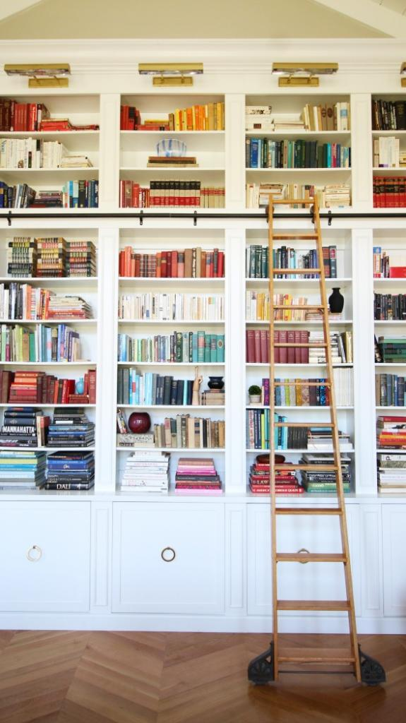 source: Little Green Notebook Library a.k.a. the most beautiful set of bookcases I have ever laid eyes on.