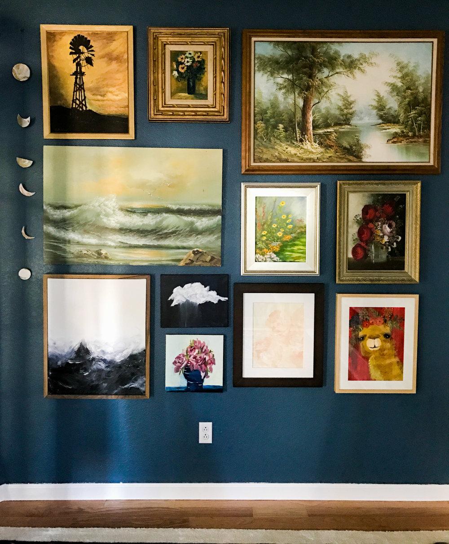 Art Sources: Thrift Shop, Thrift Shop, Thrift Shop                                       Thrift Shop, Mary Daly (Great Aunt), Thrift Shop                                        Me, Me, Allie Schmidt, Me, Me