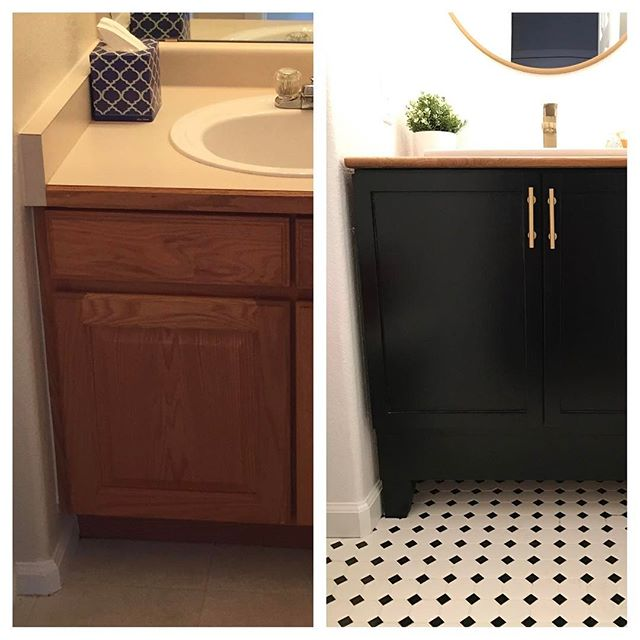 If you're on a budget, check out how we renovated our builder grade vanity cabinet. Link in my profile. #byebyebuildergrade . . . #budgetreno #diyhome #homerenovation #bathroomremodel #hgtvhome #diyblogger