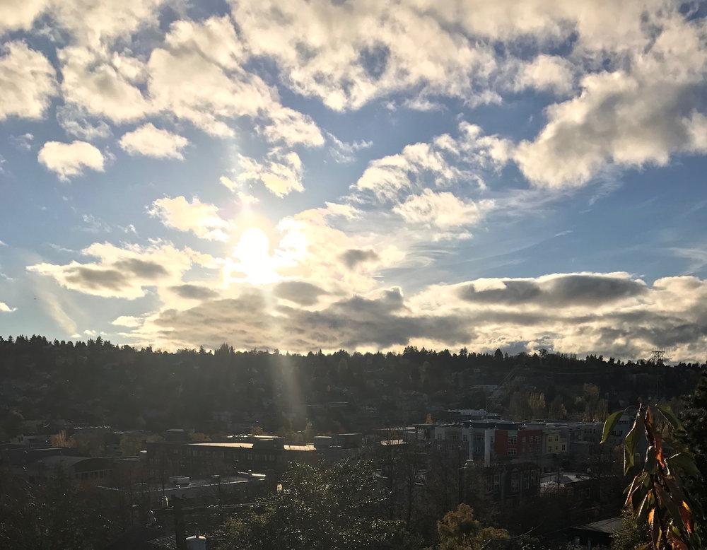 Seattle, WA  partly sunny sky shot.