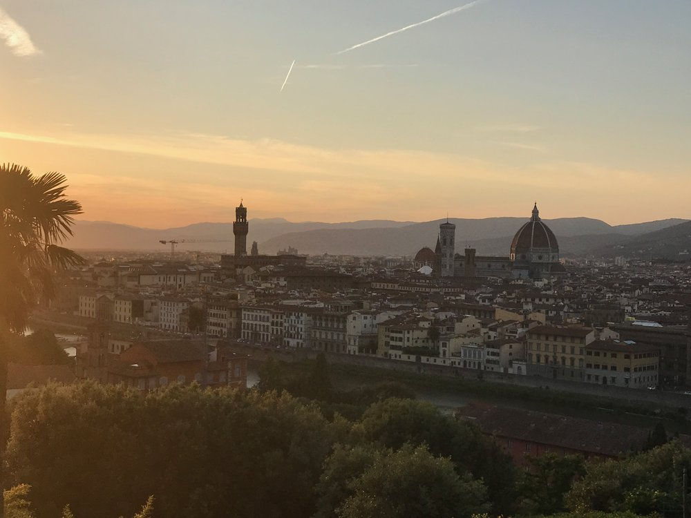 A shot of Florence at sunset from our trip there in May.
