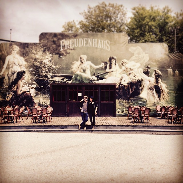 Outside the beautiful Freudenhaus venue in Austria with Camille O'Sullivan