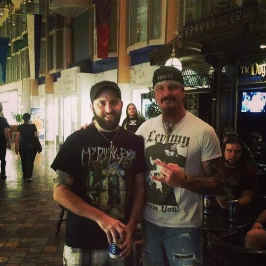 #waybackwednesday when Lucas hung out with one of his idols, Jon Schaffer of @icedearth_official on the @70000tons metal cruise! . . . . . #metal #70k #70ktonsofmetal #icedearth #festival #music #florida #jamaica #jonschaffer #gibson #imonaboat #cruise #boat #booze @lukeappletonofficial @stu.block_official @deadly_smedley_ @jakedreyerofficial @gibsonguitar