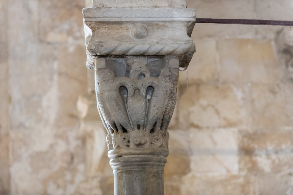 There is a pillar remaining from the crusader Church, which shows two infant pelicans (the symbols of Christ...or Christians) feeding from their mothers flesh.