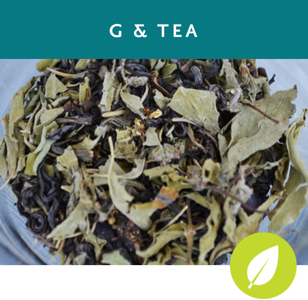 G & TEA Green tea with lime basil, rosemary, lime peel and juniper