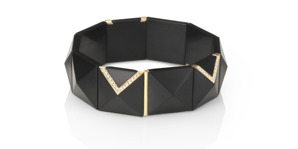 Inlaid Whitby jet bracelet with 18CT gold and white diamonds