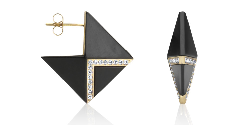 Inlaid Whitby jet double-sided earrings with 18CT gold and white diamonds