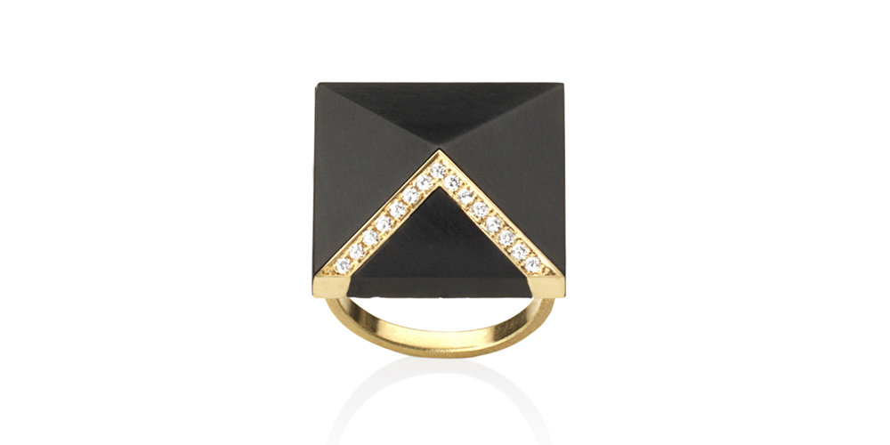 Inlaid Whitby jet ring with 18CT gold and white diamonds