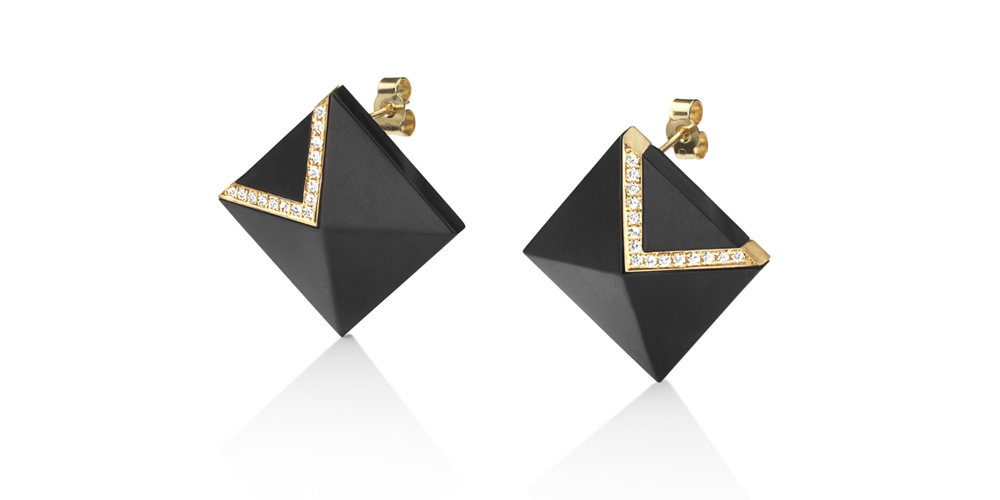 Inlaid Whitby jet studs with 18CT yellow gold and white diamonds