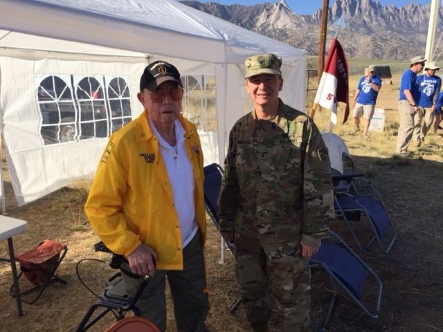 Jim Kaufman with Brig. Gen Sanchez WSMR Commander at Bataan march