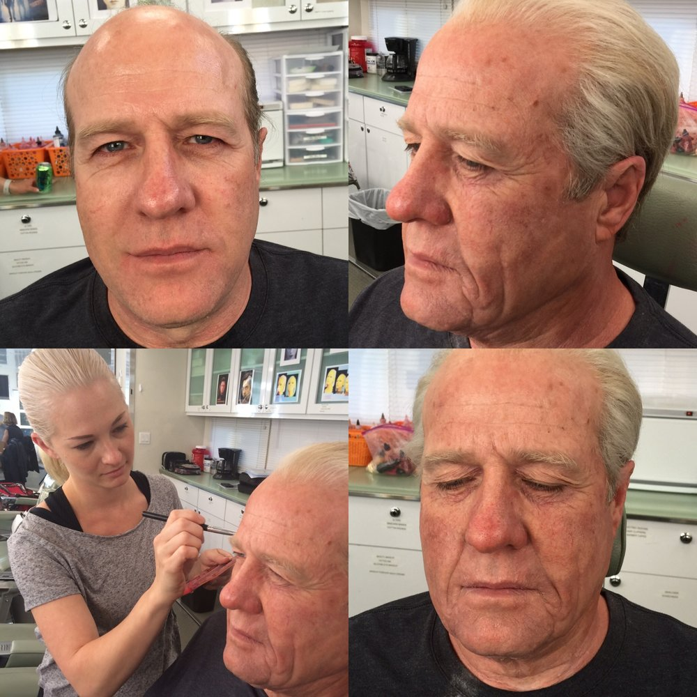 Actor Gregg Henry. Design by John Blake, Department Head. Application only with Jay Wajebe. Prosthetics provided by RBFX.