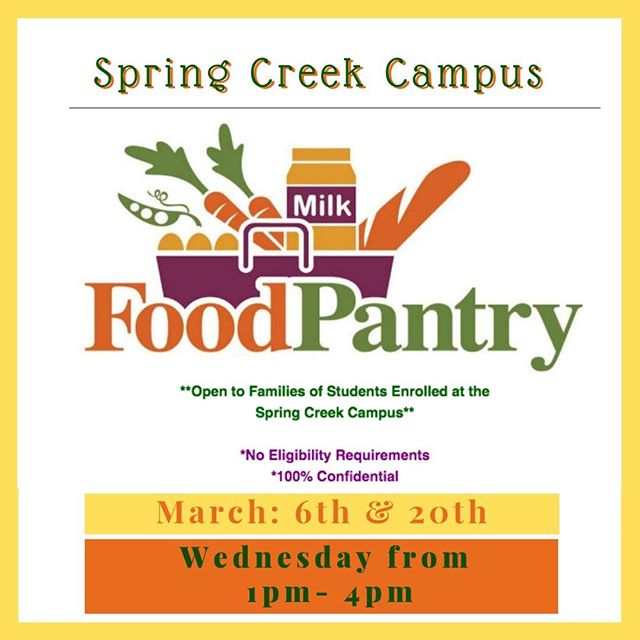 It's #Pantry time! Come get some healthy meals for the family at our monthly #SpringCreek campus pantry open this week Wednesday from 1pm- 4pm.