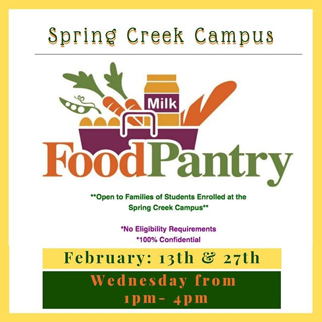 The #SpringCreek campus #pantry is open tomorrow!! This is our first for the month of February. Come see us before #MidwinterRecess!!