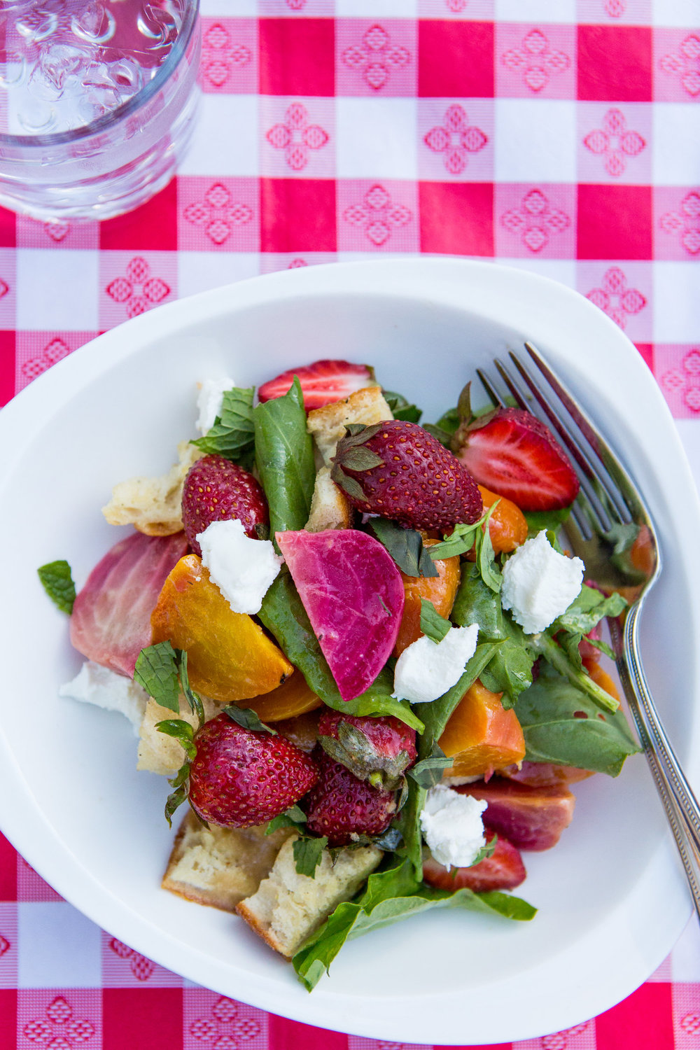 Beet and Strawberry Panzanella