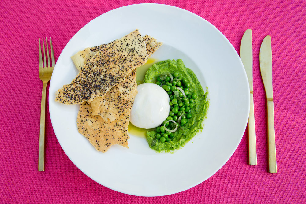 Burrata and Peas