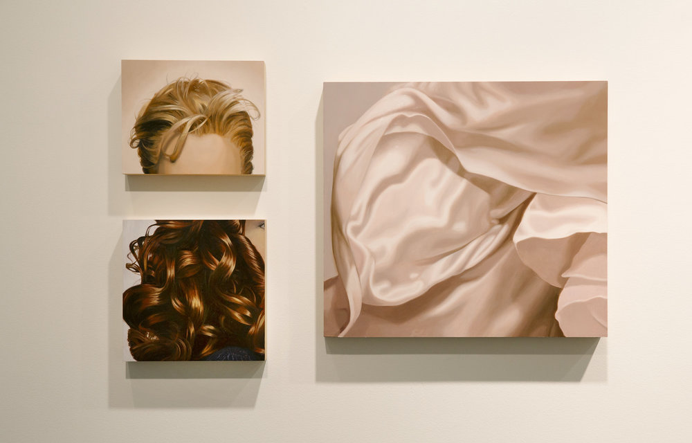 Installation view:  Homecoming: Katherine Behar, Oliver Herring, Julia Jacquette, Yashua Klos,  Hunter College Art Galleries, 2017. Julia Jacquette,  Forehead , 2014;  Red Brown Curls (Purple Sweater) , 2009;  Pink Chiffon I , 2013. Photo by Natalie Conn.