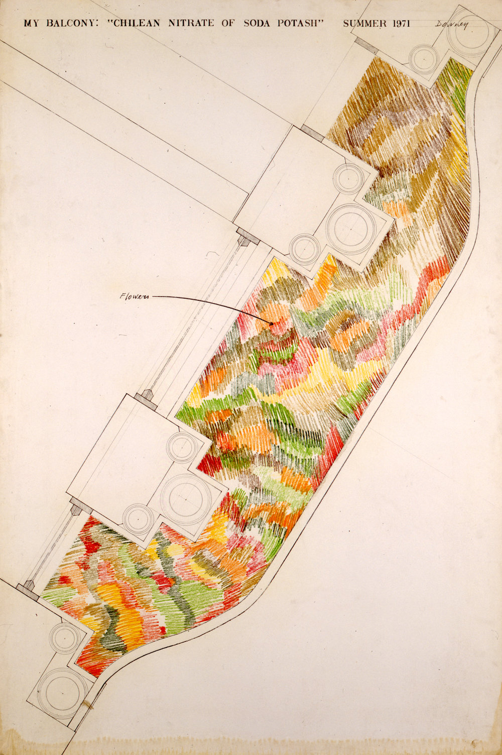 Juan Downey,  My Balcony: Chilean Nitrate of Soda Potash , 1971. Graphite and color pencil on Bristol Board, 60 x 40 inches. Courtesy of the Estate of Juan Downey, New York.
