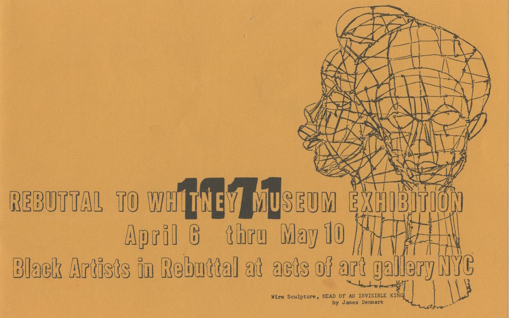 Invitation for  Rebuttal to the Whitney Museum Exhibition: Black Artists in Rebuttal  at Acts of Art Gallery, 1971. Courtesy RYAN LEE Gallery, New York and Adobe Krow Archives, Los Angeles.