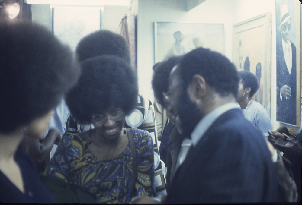Opening night of Black Artists in Rebuttal at Acts of Art, April 6, 1971.  Image courtesy of RYAN LEE Gallery, New York and Adobe Kuo Archives, Los Angeles
