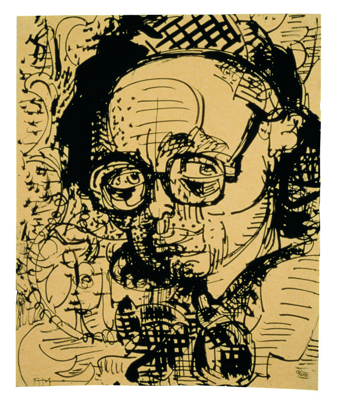 Hans Hofmann,  Student with Spectacles  [13/XVIII], c. 1927. Ink on mounted parchment, 14 x 11 inches. Kim Keever. With permission of the Renate, Hans & Maria Hofmann Trust / Artists Rights Society (ARS), New York