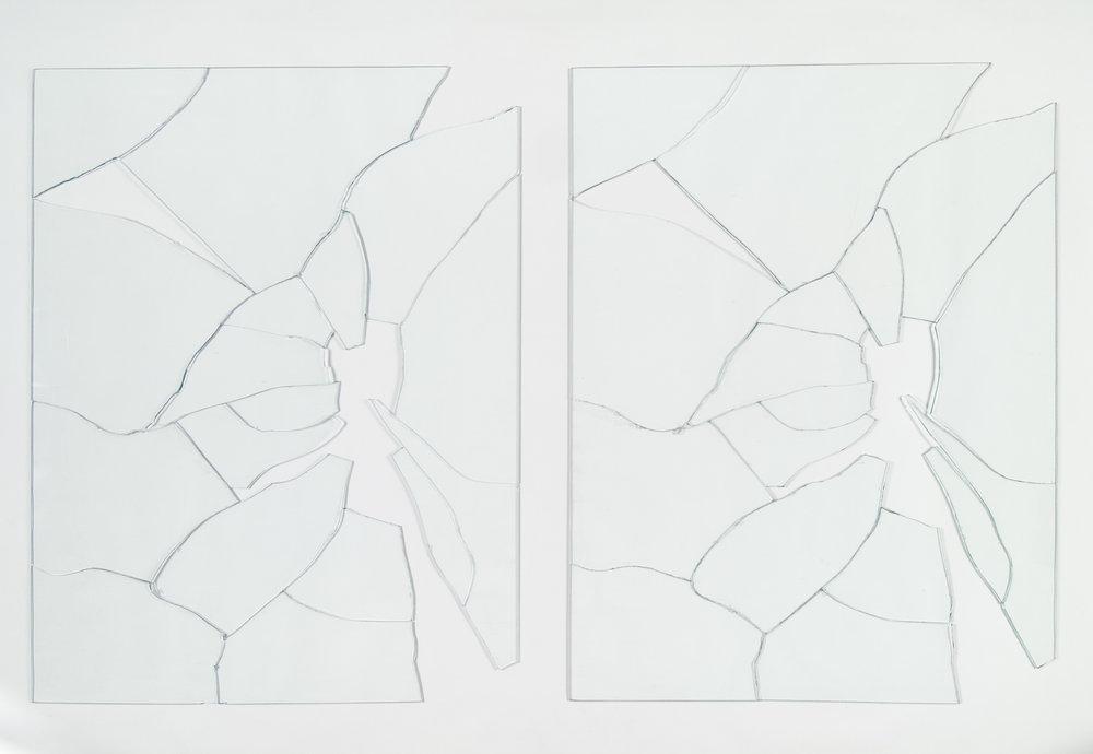 Jorge Macchi,  Vidas paralelas,  1998.   Glass [two panels], 31 ½ x 51 1/8 inches.   Colección Patricia Phelps de Cisneros