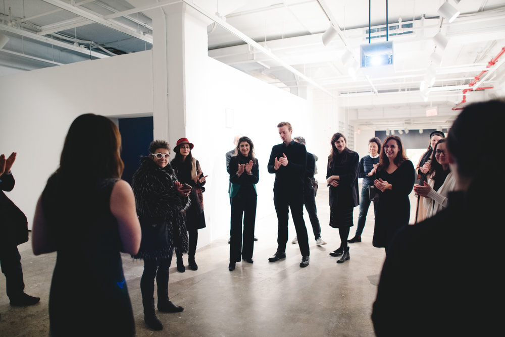 Harper Montgomery leading a tour of  Copy, Translate, Repeat: Contemporary Art from the Colección Patricia Phelps de Cisneros . Photograph by Natalie Conn.