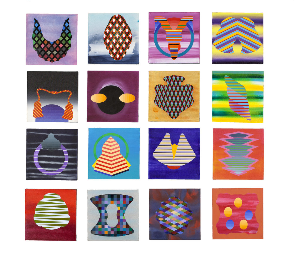 Stephen Mueller Untitled works, 2004–07 Acrylic on canvas 16 panels, 12 × 12 inches each Courtesy of Neuberger Museum of Art Purchase College, State University of New York Gift of Pat Steir