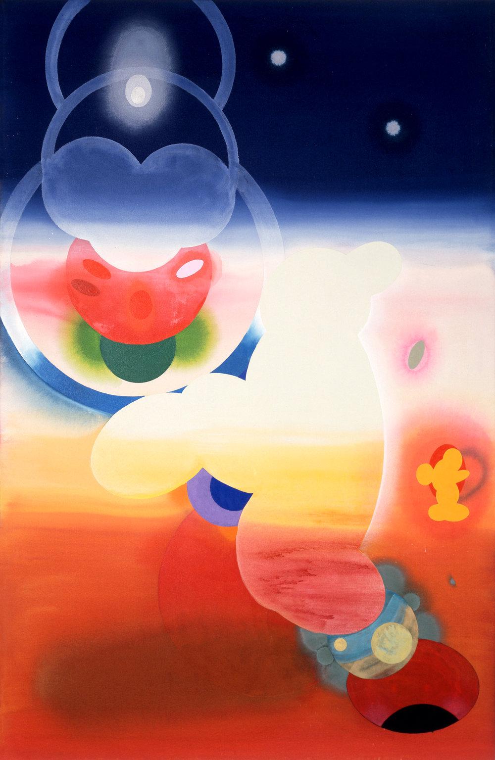 Stephen Mueller  Hey Tira Mi Su , 1995 Acrylic on canvas 92 × 60 inches Courtesy of Lennon, Weinberg, Inc., New York and Texas Gallery, Houston