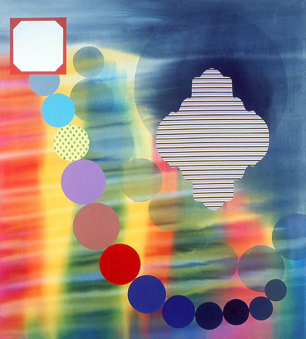 Stephen Mueller  Passegiata , 2005 Acrylic on canvas 72 × 66 in­ches Courtesy of Lennon, Weinberg, Inc., New York and Texas Gallery, Houston