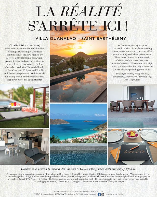 Our advertisement planned for publication in the September 2018 edition of France-Amérique Magazine (bilingual U.S. magazine of French culture and lifestyle). Accompanies an excellent profile article of Saint-Barthélemy.