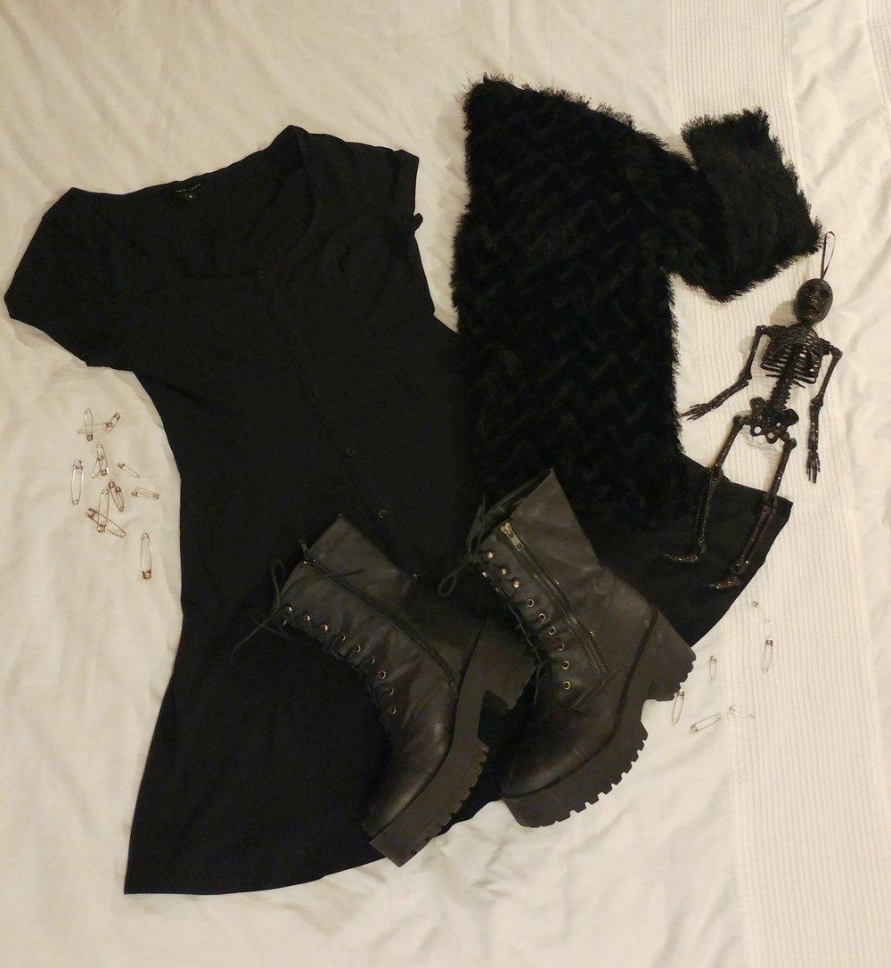 Dress - New Look | Jacket - H&M | Boots - Primark | Skeleton - Asda