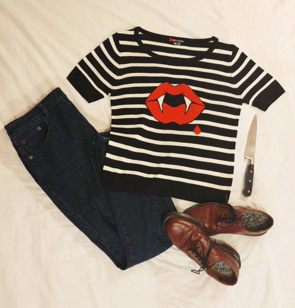 Top - Hell Bunny | Jeans - Asos | Shoes - Dr Martens (from Ebay) | Knife - One of a set from TK Maxx