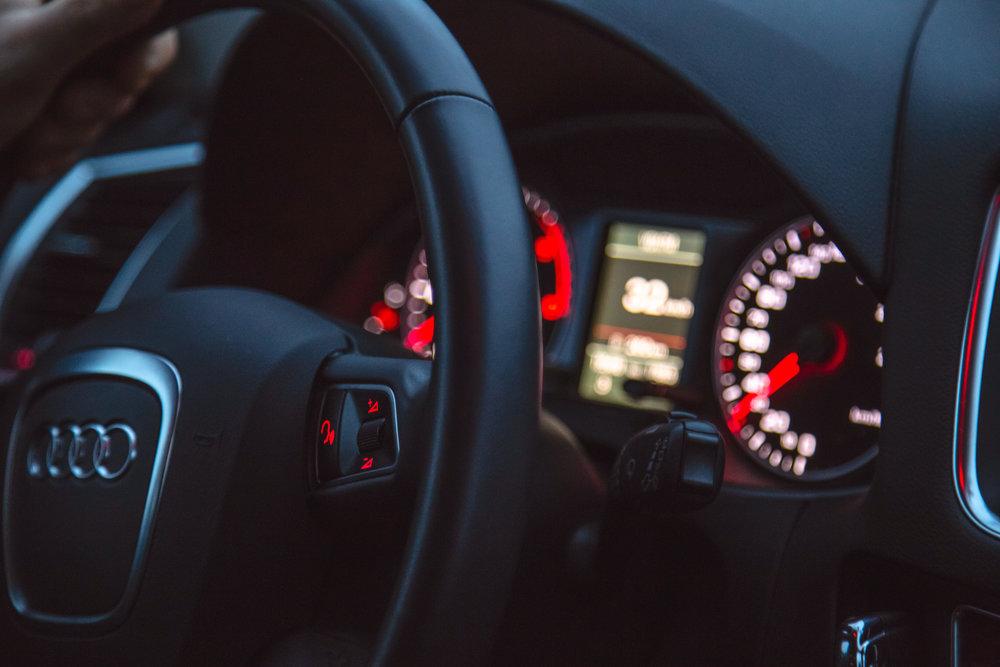 car dashboard lit up