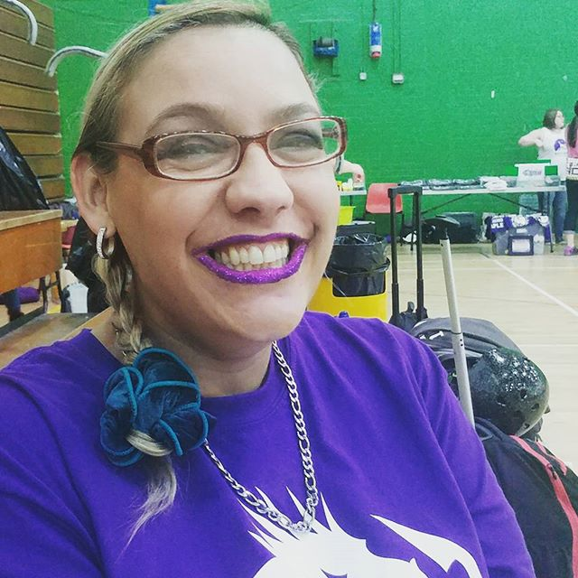Our beautiful Angel with Diamonds is ready to kick butt in her 1st A team game on home ground. Check out those  gorgeous glittery lips! #wearenwrd #rollerderby #gameday #glitter #angel #diamonds #smilesformiles