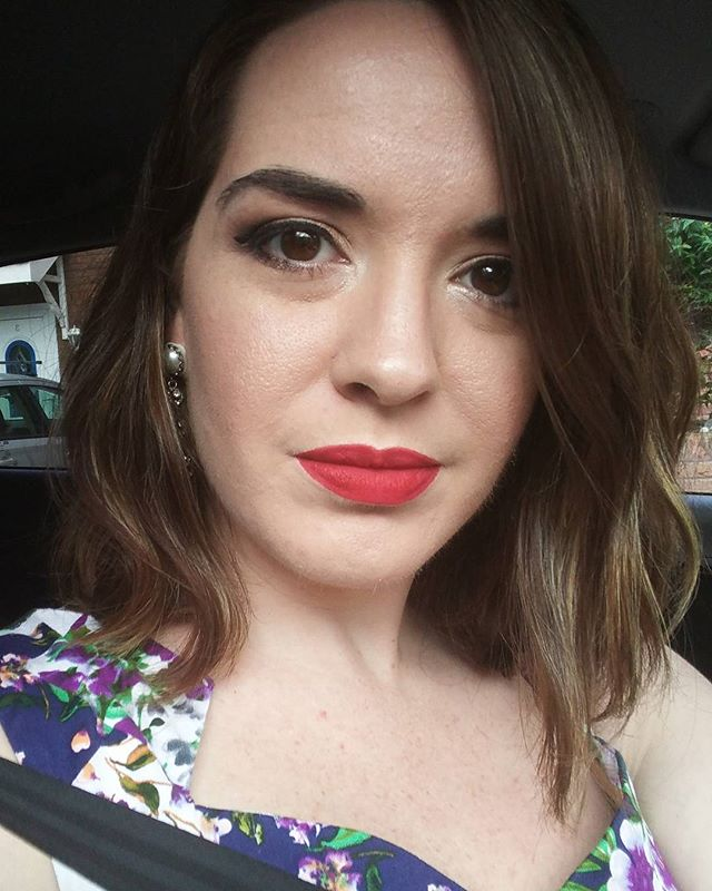 What do you do while waiting for Chris in the car? Take a selfie to prove your makeup looks as good as you thought when you left the house. #nofilter #redlips #paleskin #gold #highlight #wedding #celebrate #congrats