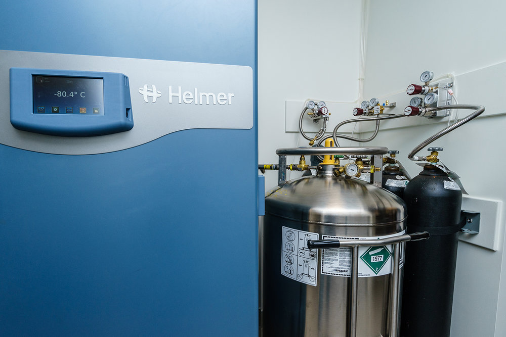 Helmer Ultra-Low iUF118 -80C freezer and liquid nitrogen supply tank for MVE Chart HEco Cryogenic freezer