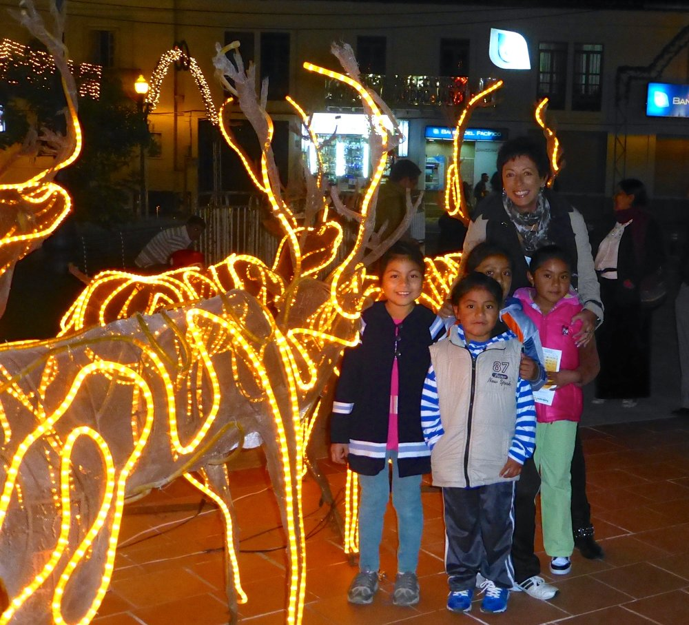 In Otavalo, Ecuador for Christmas 2013 with my adopted children.