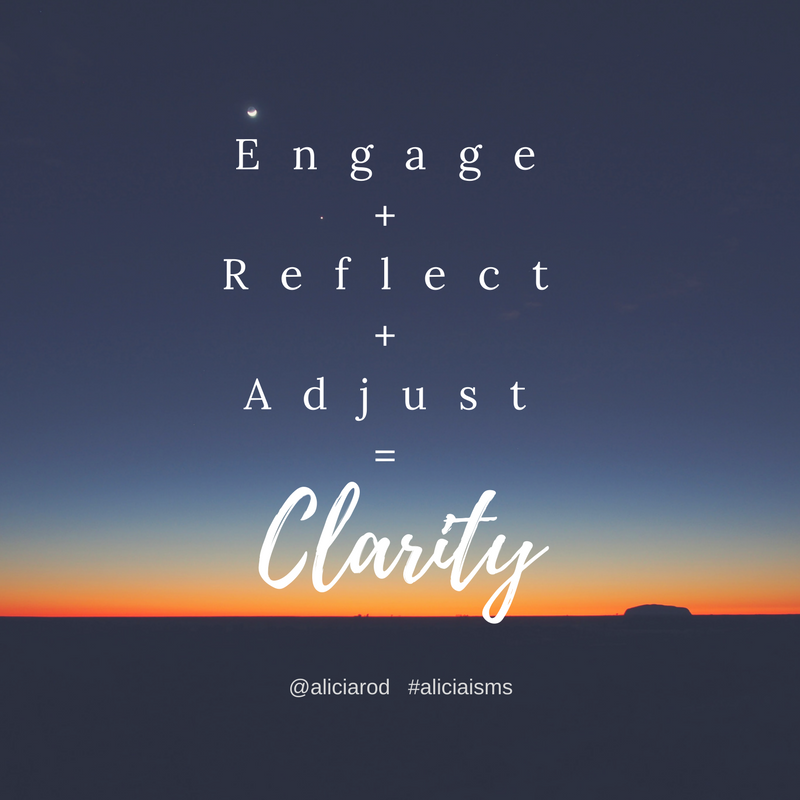 Clarity comes from reflection paired with action and followed by assessment and re-engagement.