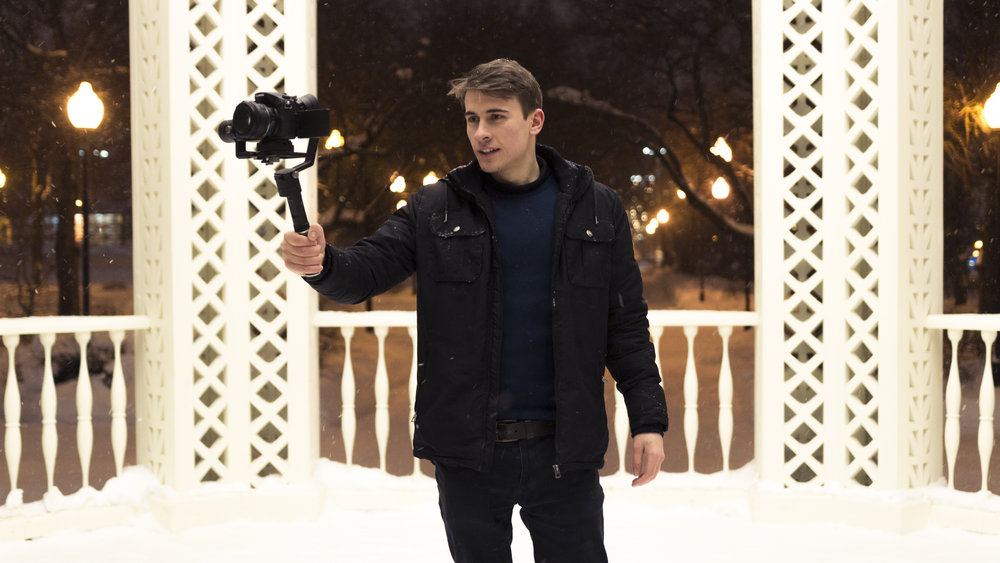 Here's me pretending to shoot a video in Moscow while my girlfriend Chelsea takes a picture of me.