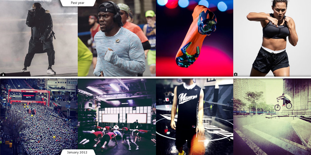 See how Nike's visual style on Instagram has changed between 2012 and now.