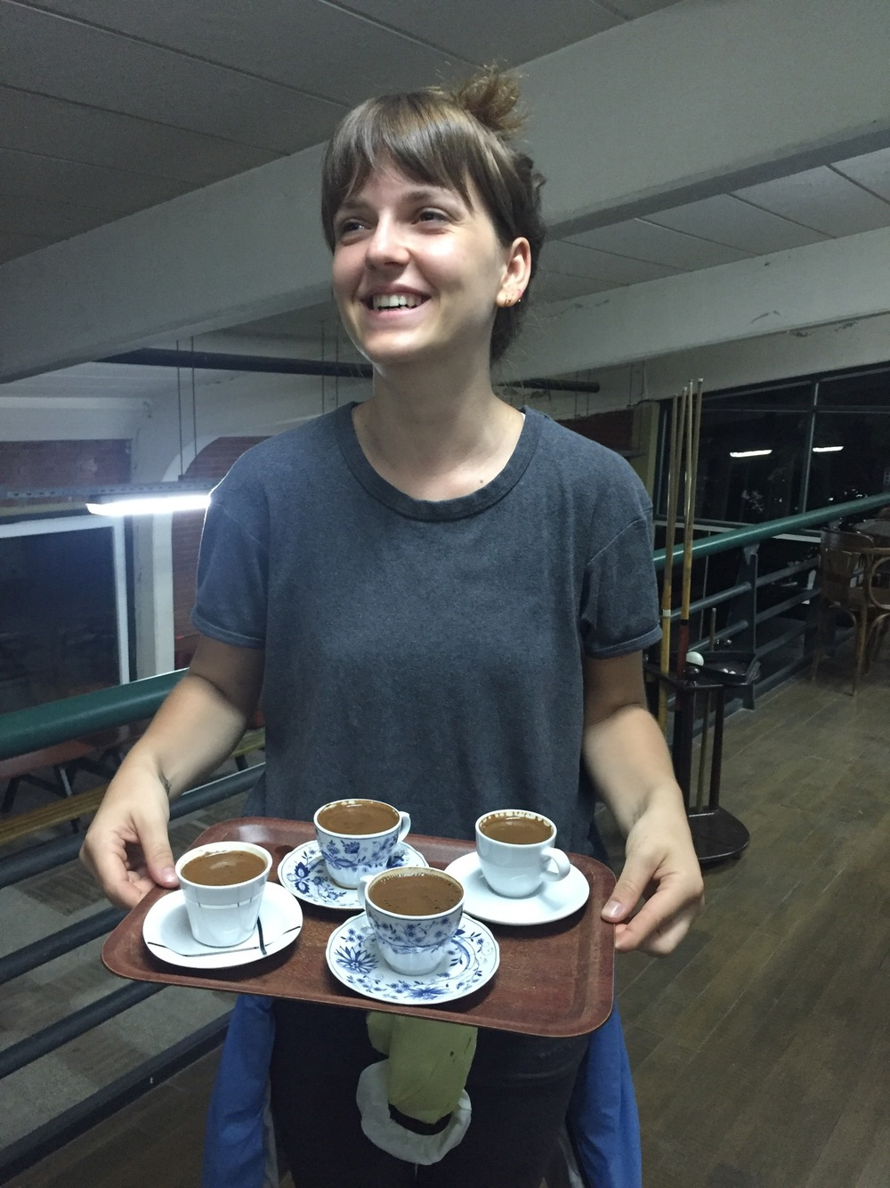 After drinking you must have Turkish coffee! So delicious and thank you to Vahide for showing me how to make it, and for reading our coffee fortunes.