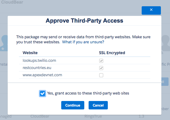 Screen prompting you to grant access to 3rd party tools used by RingsTrue