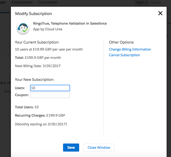 Modify Subscription link brings up this page in AppExchange