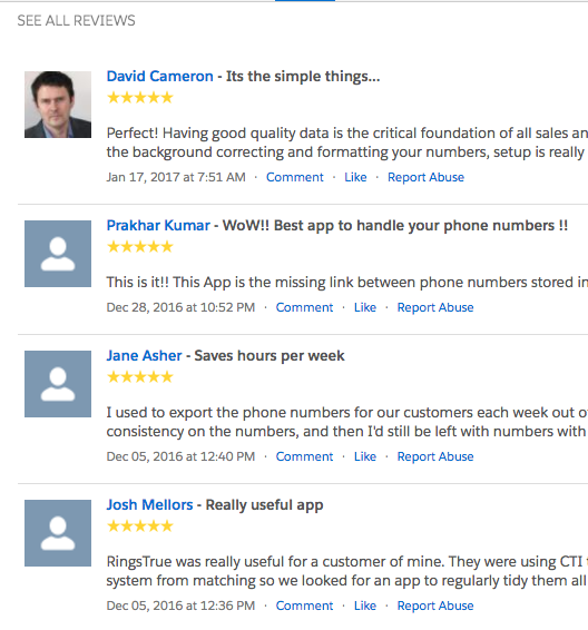 A selection of AppExchange reviews