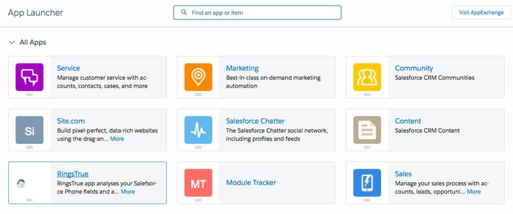 RingsTrue shortcut on the right hand app menu