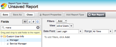 The new field showing in the report builder