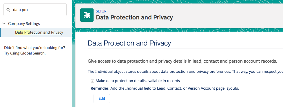 Activating the Data Protection option