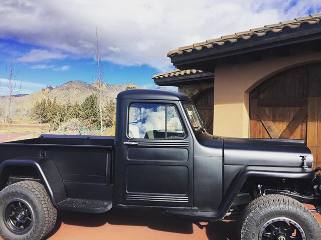 when your clients have cool toys and Tuscan meets 'American classic' . . . #truckenvy #jeepwillis #restored #vibtage #1948
