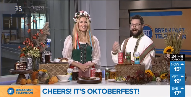 - Take a look at when beerbistro was featured on Breakfast Television  to Celebrate Oktoberfest with traditional food and drinks!